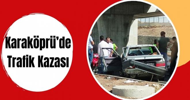 Karaköprü'de otomobil refüje çarptı!