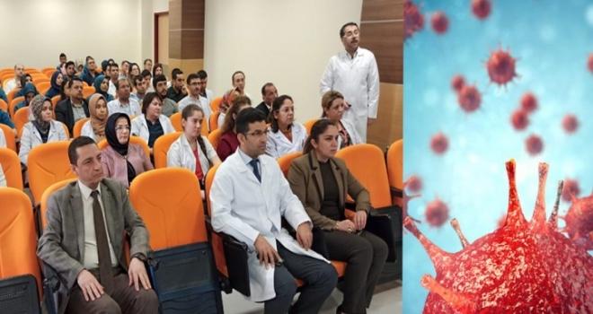 Hastane çalışanlarına coronavirüs eğitimi verildi