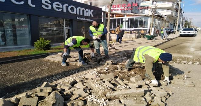 Tahrip olan cadde ve sokaklarda beton ve kaldırım çalışmaları devam ediyor