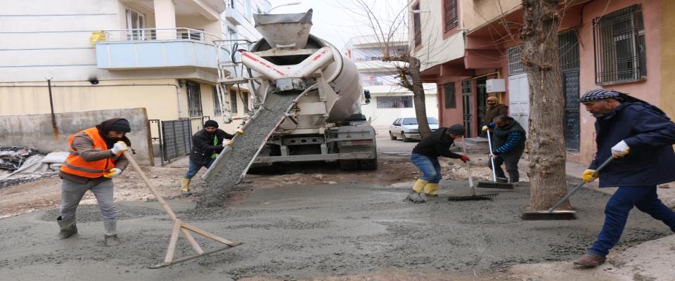 Abdalağa mahallesinde beton çalışmaları