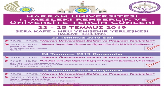Harran Üniversitesinde Rehberlik ve Tercih Günleri Başlıyor