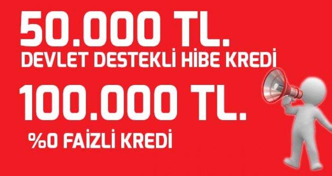 Genç Girişimcilere 50 bin TL Hibe Kredi – 100 bin TL Faizsiz Kredi