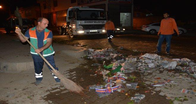 Siverek Belediyesinin semt pazarlarında temizlik çalışması